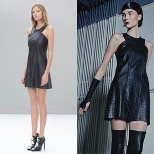 ALEXIS Ukraine Black Leather Embossed Croc Dress